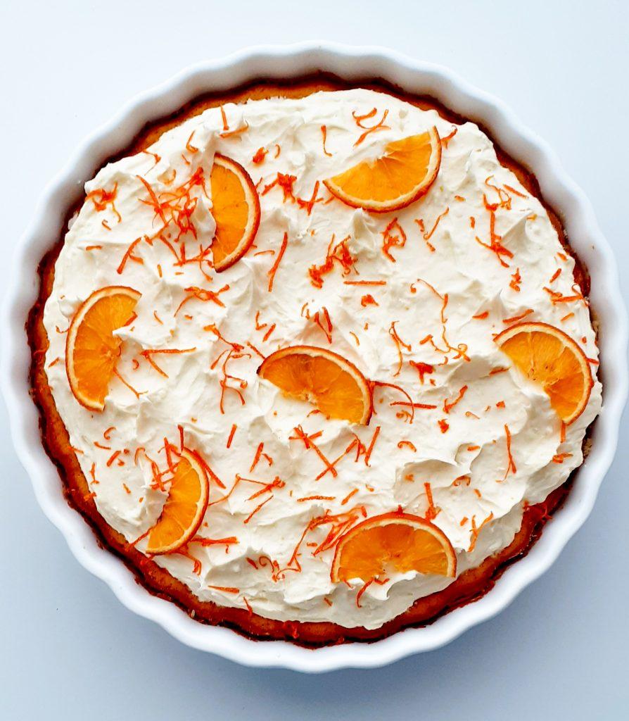 tarta cu portocale si ciocolata alba
